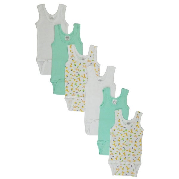 Boy's White, Printed Rib Knit Pastel Sleeveless Tank Top Bodysuit 6-Pack