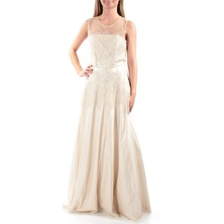 Womens Beige Floral Sleeveless Full Length Prom Dress Size: 14