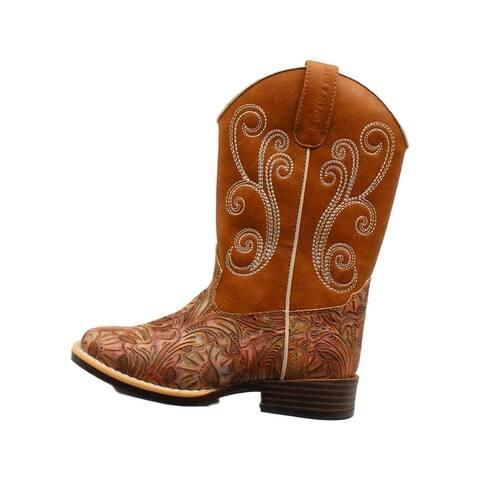 Twister Western Boots Girls Elizabeth Swirl Stitch Multi