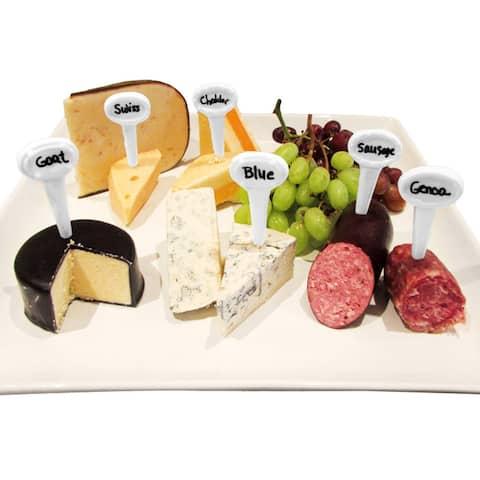 Evelots Food Marker Set-Cheese/Appetizer-Porcelain-Reusable-Erasable Pen-Set/13 - White