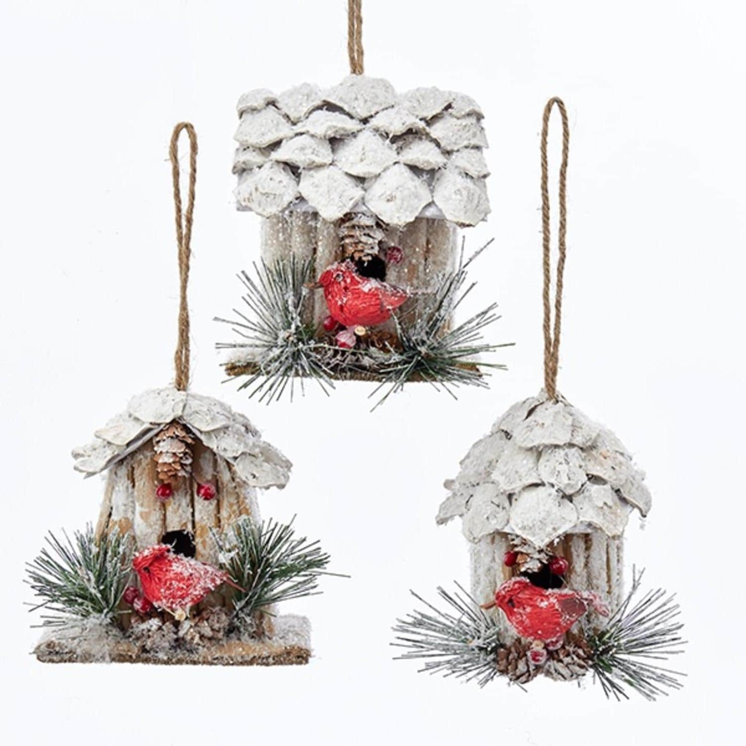 Shop Pack Of 12 Assorted Pine Cone And Twig Birdhouses With Cardinal Bird Christmas Ornaments 3 5 Overstock 22577273