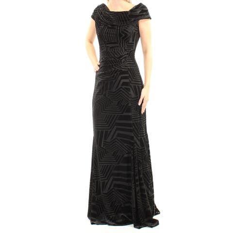 f6c3bf5a TAHARI Womens Black Velvet Printed Short Sleeve Cowl Neck Full Length  Evening Dress Size: 4