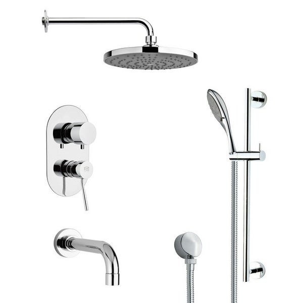 Nameeks TSR9083 Remer Shower Tub and Shower Trim Package with Single Function Rain Shower head and Hand Shower - Chrome