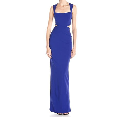 Nicole Miller Womens Royal Blue Size 2 Side Cutout Square Neck Gown