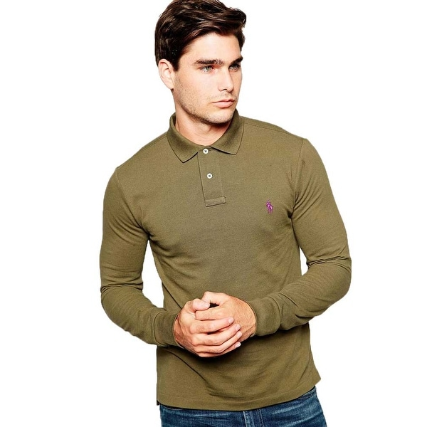 Polo Ralph Lauren Men Custom Fit Long Sleeves Polo Shirt Green XL - X-LARGE