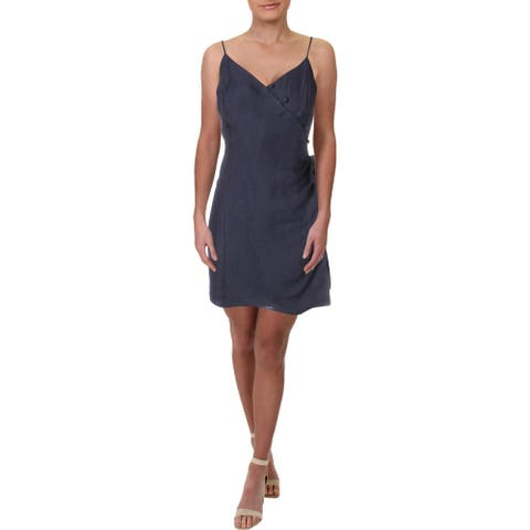 Aqua Womens Casual Dress Smocked Sleeveless - Blue - L