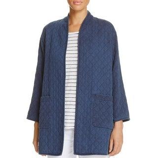 Eileen Fisher Womens Petites Jacket High Collar Printed