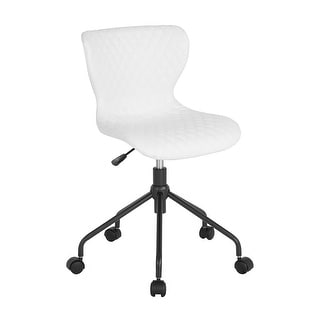 Offex Contemporary Home and Office Mid Back Upholstered Swivel Task Chair in White Vinyl