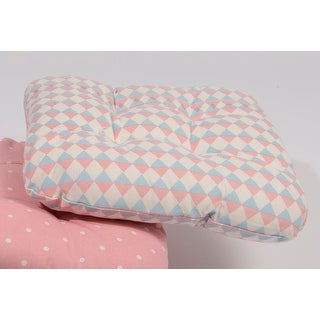 "15"" Capri Boulevard Pink and Blue Diamond Motif Chair Cushion with Ties"