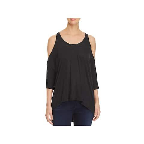 Elan Womens Pullover Top Sheer Cold Shoulder