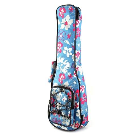 Double Shoulder Strap Flower Pattern Concert Ukulele Soft Case Padded Bag Blue