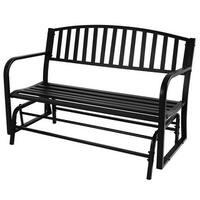 "Belleze 50"" Outdoor Garden Bench Glider Rocker Seat Swing, Black"