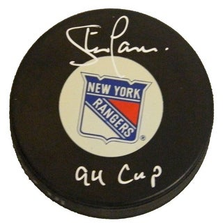 Steve Larmer Signed NY Rangers Logo Hockey Puck w'94 Cup