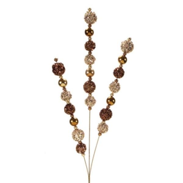 """Pack of 6 Champagne and Brown Colored Sparkling Glitter Artificial Bead Sprays 29"""""""