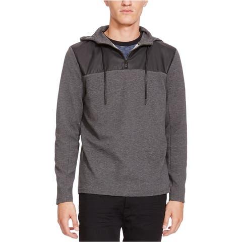 Kenneth Cole Mens Mixed-Media 1/4 Zip Hoodie Sweatshirt