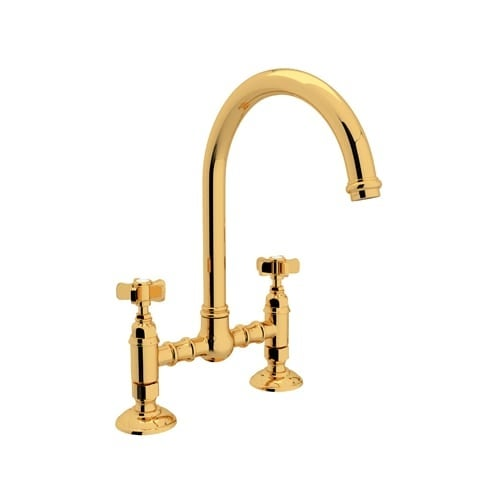 Rohl A1461XWS-2 Country Kitchen Bridge Faucet with Side Spray and Five Spoke Handles