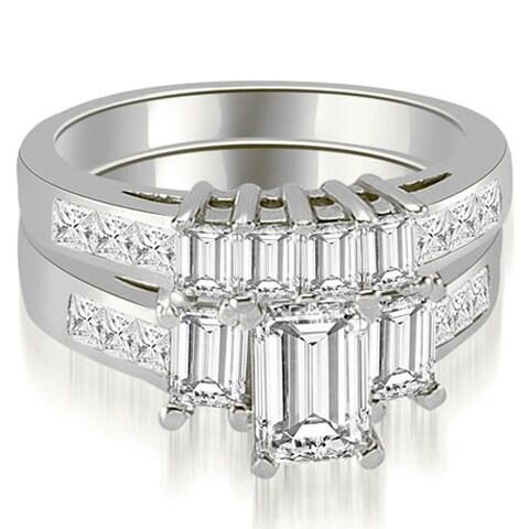 2.50 cttw. 14K White Gold Channel Princess and Emerald Cut Diamond Bridal Set HI, SI1-2
