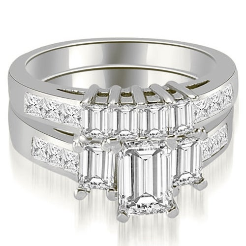 3.00 cttw. 14K White Gold Channel Princess and Emerald Cut Diamond Bridal Set