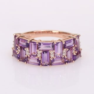Link to Miadora 10k Rose Gold Baguette African-Amethyst & 1/10ct TDW Diamond Semi-Eternity Wedding Band Ring Similar Items in Wedding Rings