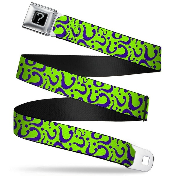 "Riddler ""?"" Black Silver Question Mark Scattered Lime Green Purple Webbing Seatbelt Belt"
