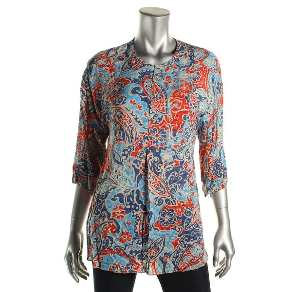 Zara Basic Womens Tunic Top Paisley 3/4 Sleeves