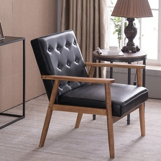 Link to Retro Modern Wooden Accent Chair Club Chair Faux Leather Lounge Chair Similar Items in Living Room Chairs