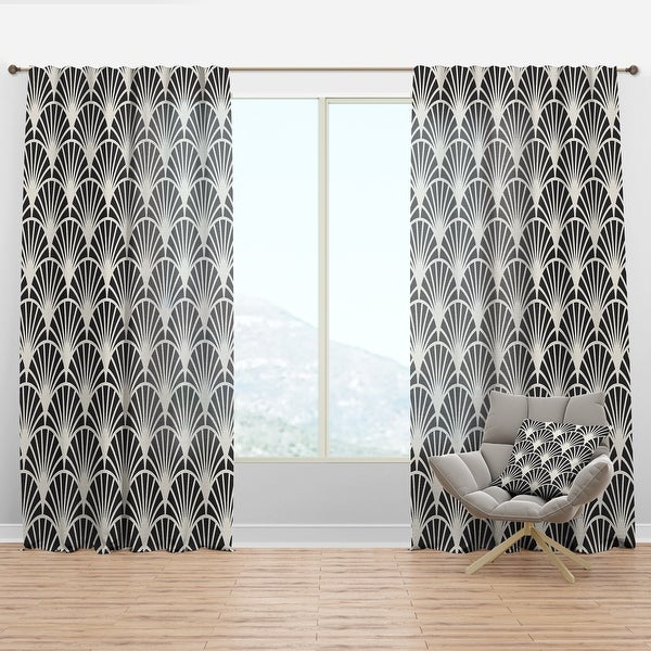 Designart 'Retro Art Deco Waves I' Mid-Century Modern Curtain Panel. Opens flyout.
