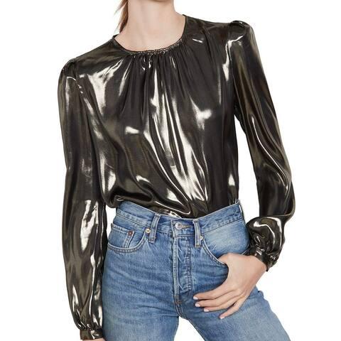 WAYF Women's Blouse Gold Size XS Metallic Puff Shoulder Button Sleeve