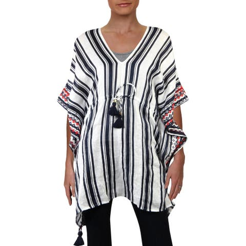 Tory Burch Womens Ravena Linen Striped Caftan Swim Cover-Up - Navy Bold/Awning Stripe - XS/S