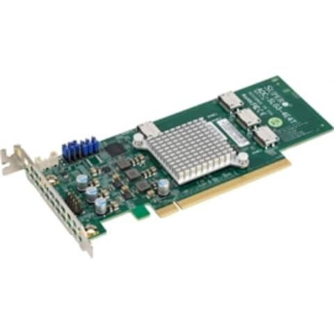 Supermicro Accessory AOC-SLG3-4E4T-O 12.8 Gb/s Quad-Port NVMe Internal Host Bus Adapter Brown Box