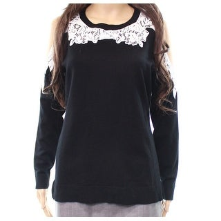 INC NEW Black Womens Size XS Lace Embroidered Contrast Pullover Sweater