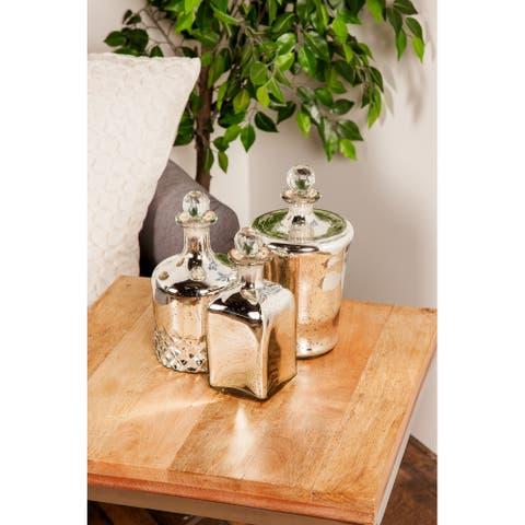 Silver Glass Glam Decorative Jar (Set of 2) - 5 x 5 x 11
