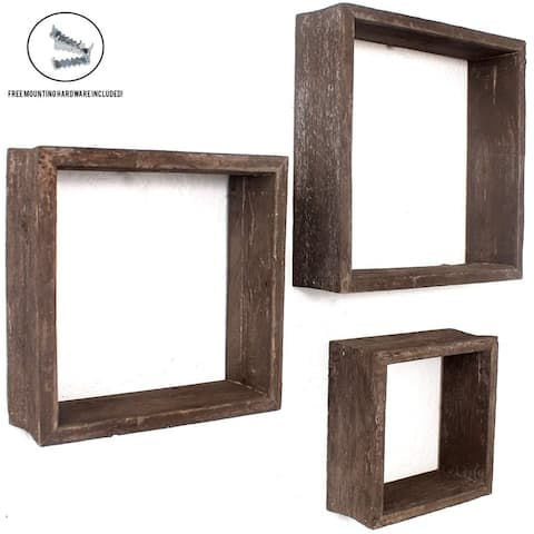 "Set of 3 Square Espresso Reclaimed Wood Open Box Shelve - 12"" X 12"""