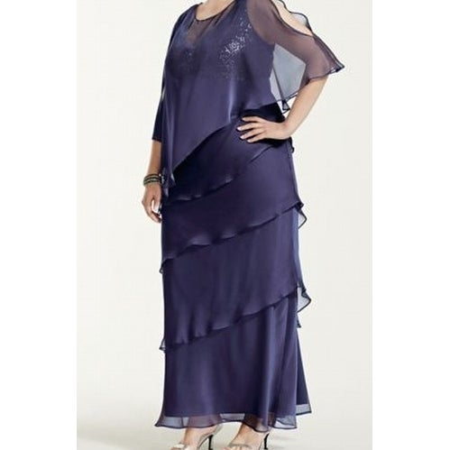 5d6e63e5504 Shop Ignite Evenings NEW Saphire Blue Womens 24W Plus Capelet Tiered Gown -  Free Shipping Today - Overstock - 18787113