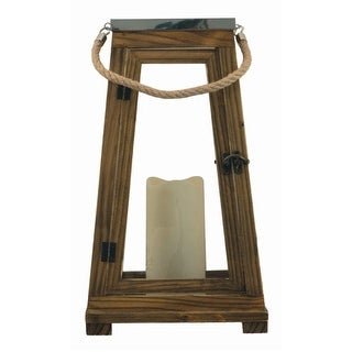 Smart Solar 84044-LC Natural Wood Lantern with Stainless Steel Top, 15""