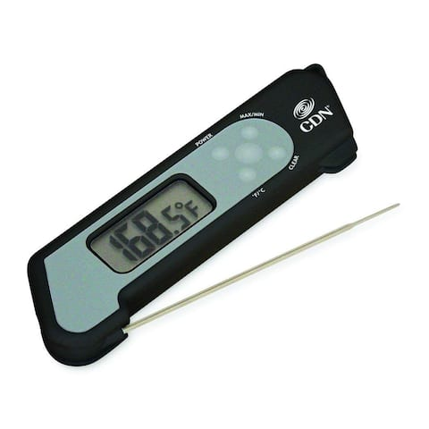 CDN TCT572-B ProAccurate Digital Instant Read Folding Thermocouple Cooking Thermometer - NSF Certified Water Resistant - Black