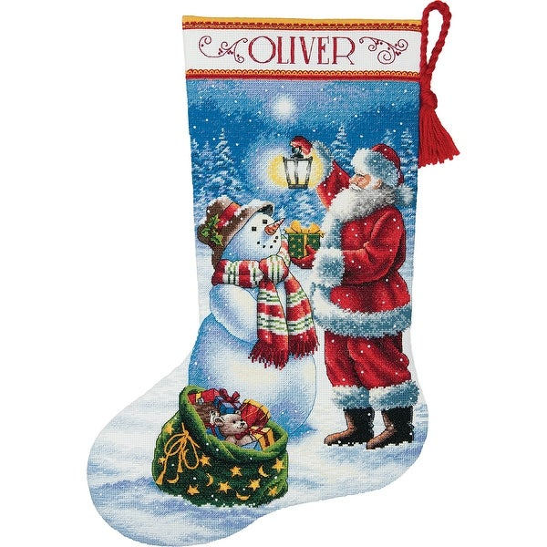 """Gold Collection Holiday Glow Stocking Counted Cross Stitch K-16"""" Long 18 Count"""