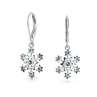 Bling Jewelry Silver Snowflake Blue CZ Leverback Dangle Earrings
