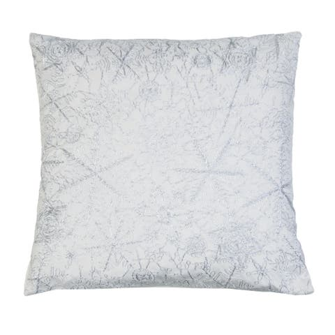 19x19 Vedia Snowflake Sequin Faux Linen Pillow