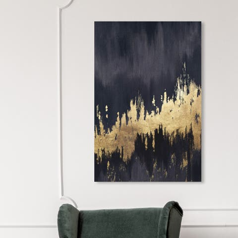 Oliver Gal 'Late Night Sky' Abstract Wall Art Canvas Print Brush Strokes - Black, Gold