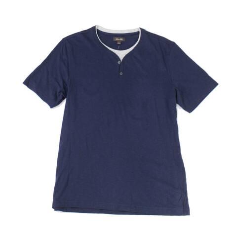 Tasso Elba Men's Layered-Look T-Shirt, Blue, XL