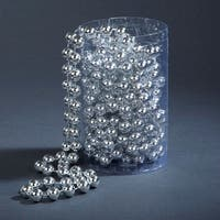 Club Pack of 12 Shiny Silver Beaded Christmas Garland 15' x 12mm