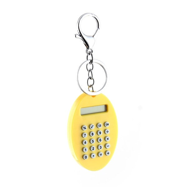 School Plastic Oval Shape Portable 8 Digits LCD Display Key Chain Calculator