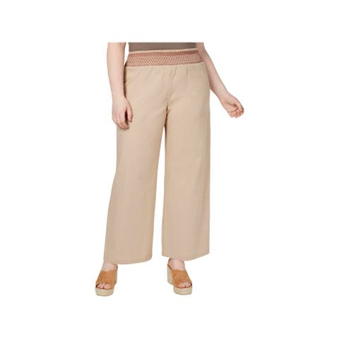 Planet Gold Womens Juniors Casual Pants Plus Size Smocked Waist - Moonlight - 1X