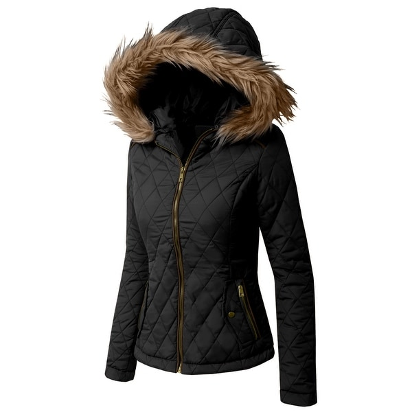 NE PEOPLE Womens Lightweight Quilted Fur Zip Jacket (NEWJ49)