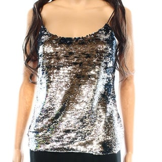 Ted Baker NEW Silver Blue Women's Size Small S Reversible Sequin Blouse