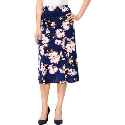 NY Collection Womens Midi Skirt Printed A-Line