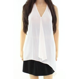 Daniel Rainn NEW White V-Neck Chiffon Women's Small S Tank Cami Top