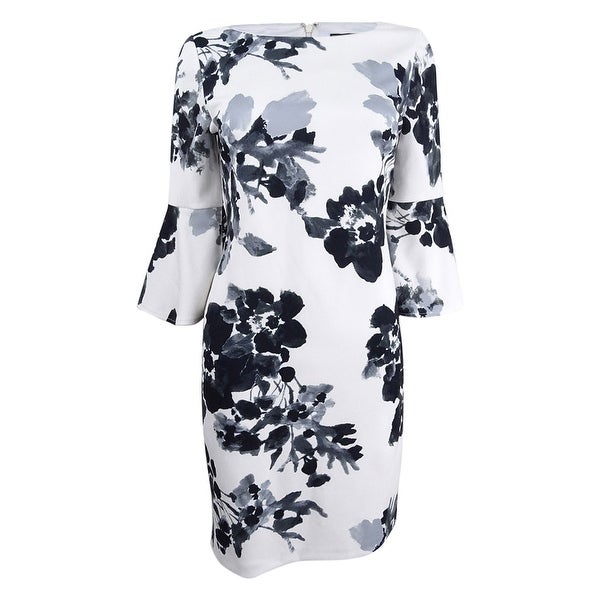 a086eb8d0c9bf Shop Jessica Howard Women's Petite Floral-Print Sheath Dress - Ivory/Black  - On Sale - Free Shipping Today - Overstock - 26565960