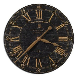 "18"" Black and Gold Weathered Crackled British Theme Wall Clock"